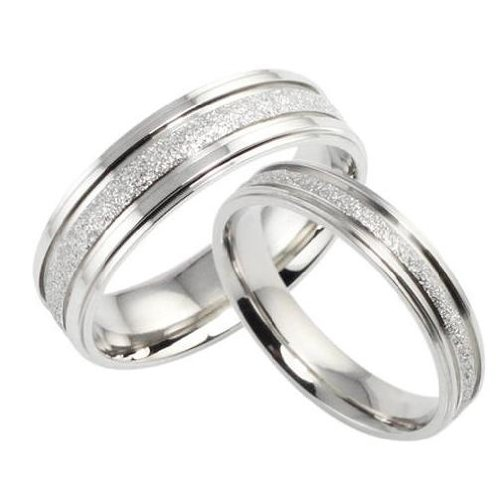 Pair Titanium Wedding Bands Set Ring in a Gift Box (Price Is For A Set His Size 7-12 Hers Size 5-9) Please Email to Tell Sizes of Both Rings -R259