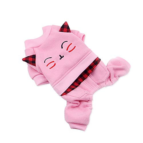 (EraseSIZE Pet Dog Winter Cute Cat Pattern Cotton Coat Two-Legged Sweater, Comfortable Soft and Warm Apparel from Size XS - XL, Suitable Small Medium Large Dogs (S, Pink))