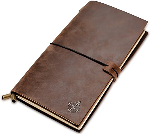 Leather Travel Journal - Travelers Notebook, Refillable | Perfect for Writing, Poetry, Log Book, Travellers, a Diary. Standard Size | Lined Inserts | 8.5