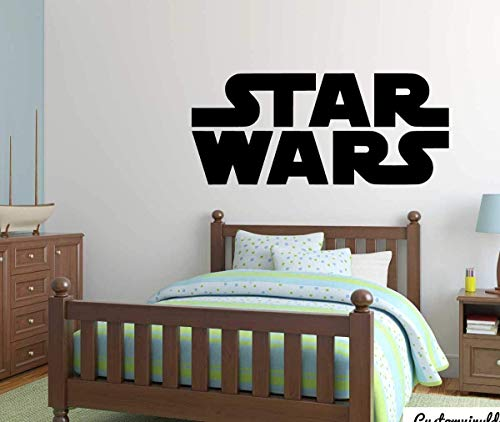 Star Wars Wall Decal | Vinyl Movie Sticker Logo for Kids Playroom, Bedroom, or Birthday Party | Boy's or Girl's Room Decor | Small and Large Sizes | Black, White, Pink, Purple, Other Colors