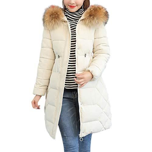 (Creazrise Women's Winter Puffer Mid Length Cargo Pocket Coat Fur Trim Removable Hood (Black,3XL))