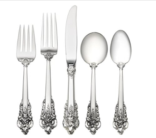 Wallace Grande Baroque 40-Piece Place Set with Cream Soup Spoon, Service for 8 Baroque Sterling Flatware Cream