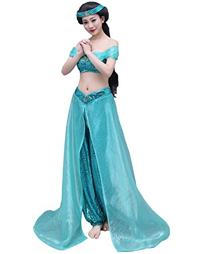 (mewow Halloween Costume Women's Deluxe Arab Princess Blue Dress Party Queen Cosplay Outfits)