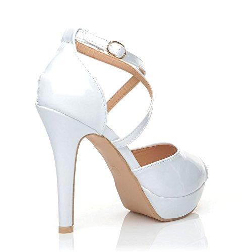 blanc pour Cross ShuWish femme Blanc UK verni Escarpins qpT1Rgw