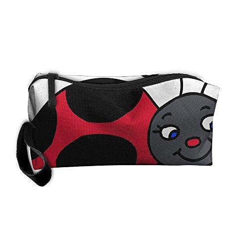 Smile Ladybug Storage Tools Canvas Zipper Multi-function Organization Bag With Handle -