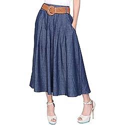 Kaachli Women's Midi Denim Skirt (with a Belt) (M)