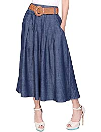 Women's Thin Blue Denim Cotton Midi Calf Pocket Fall Skirt with Belt