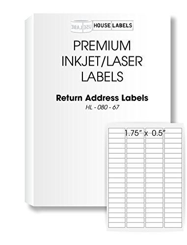 "HouseLabels 400 Sheets; 32,000 Labels, 80-UP, Return Address Labels, (0.5"" x 1-3/4"") -- BPA Free!"