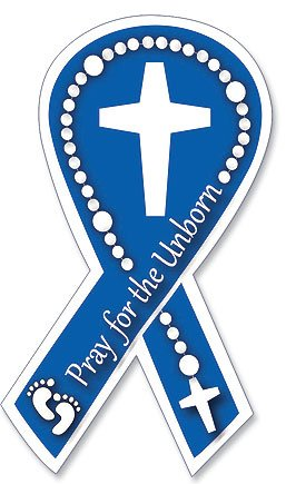 "Religious Pro-Life Gift Pray for the Unborn with Rosary Cross Baby Feet Design 7"" Flexible Auto Car Magnet Decal"