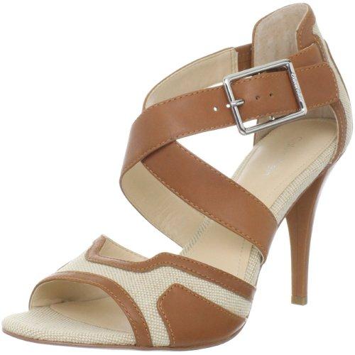 Calvin Klein Women's Zahara Linen/Calf Ankle-Strap Sandal,Natural/Light,7.5 M US