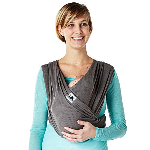 Baby K'tan Breeze Baby Wrap Carrier, Infant and Child Sling-Charcoal M (W Dress 10-14 / M Jacket 39-42). Newborn up to 35 lbs. Best for Babywearing. ()