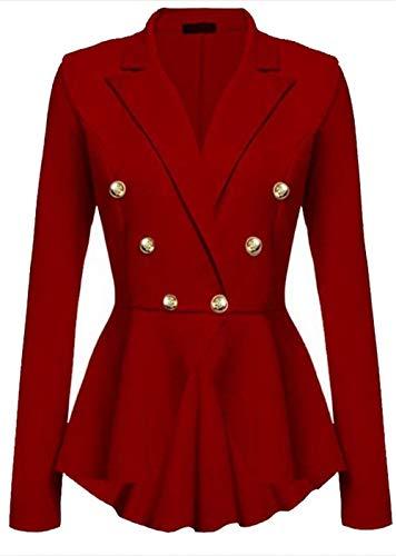 Solidi Rot Bavero Breasted Lunga Irregular Tailleur Outwear Donna Colori Slim Giovane Double Giacca Manica Women Business Cappotto Autunno Da Camicia Corto Fit pAwF1gqZ