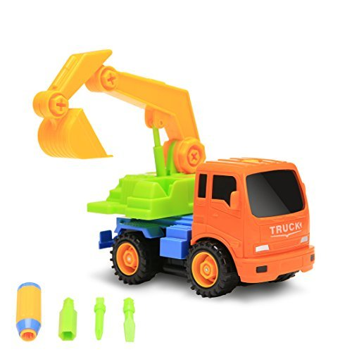Packfun Take-A-Part Toy Vehicle Excavator Friction Powered Kit Truck Tools Sets Inertia Engineering Construction Building Truck Fun Educational Toys for Kids