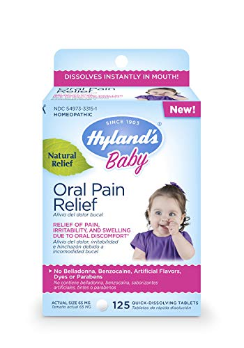 Hyland's Baby Oral Pain Relief Tablets with Chamomilla, Soothing Natural Relief of Oral Discomfort, Irritability, and Swelling, 125 Count
