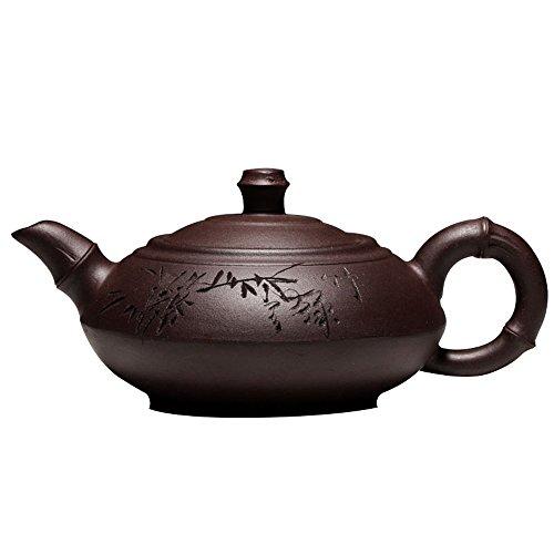 Moylor Chinese Kungfu Teapot Handmade Bamboo Carved Pattern Yixing Zisha Tea Pot 280cc by Moylor