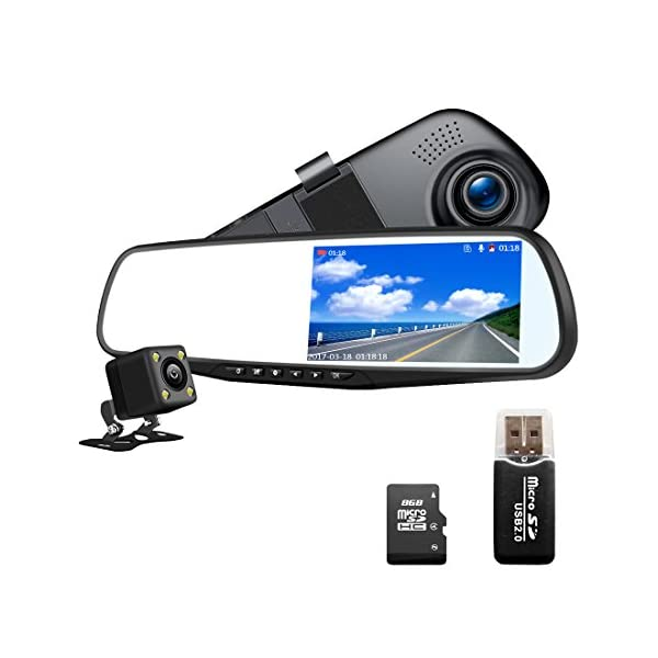 "Dash Cam 1080P Full HD 4.3"" LCD Mirror Car Video Recorder Dual Lens Vehicle Camera Car DVR Road Dash Cam With Night Vision Motion Detection"