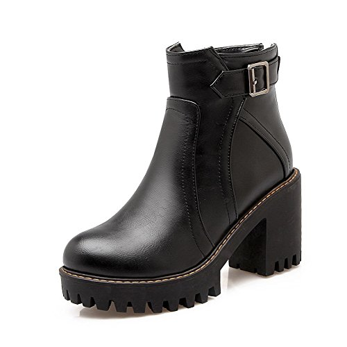 Boots Round PU High Solid Black Women's Heels Toe Low Top Allhqfashion Closed Fq7Zwfv7x
