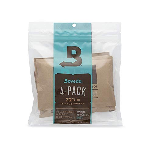 Boveda for Cigars/Tobacco | 72% RH 2-Way Humidity Control | Size 60 for Use with Every 25 Cigars a Humidor Can Hold | Patented Technology For Cigar Humidors | 4-Count Resealable Bag