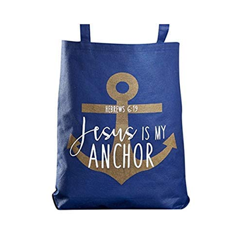 Jesus Is My Anchor Hebrews 6:19 Bible Verse Recycled Nylon Tote Bag, 16 Inch ()