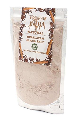 - Pride Of India - Himalayan Black Salt (Kala Namak) Extra Fine, SPECIAL 0.5 LB + 0.5 LB EXTRA FREE = 1 LBS TOTAL - 84+ Natural Mineral Enriched - Great for Vegan Tofu Scrambles - Natural Egg Like Taste