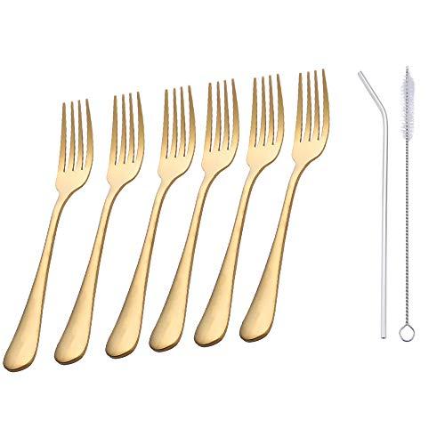 8 Inches Forks Set of 6 - Ccinny Stainless Steel Dinner Forks - Heavy Duty Forks - Salad Dessert Fork - Appetizer Forks - Flatware Forks - Dishwasher Safe (Gold)