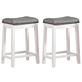 Angel Line 43418-21 Cambridge bar stools, 24″ Set of 2, White with Gray Cushion
