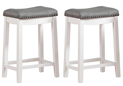 Angel Line Cambridge Padded Saddle Stool, White with Gray Cushion, 24' H, Set of 2