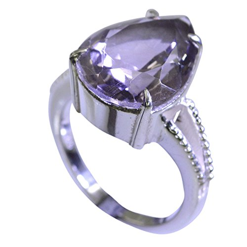 Gemsonclick Natural Amethyst Ring Purple Silver Pear Shape Bezel Style Handmade Size 5,6,7,8,9,10,11