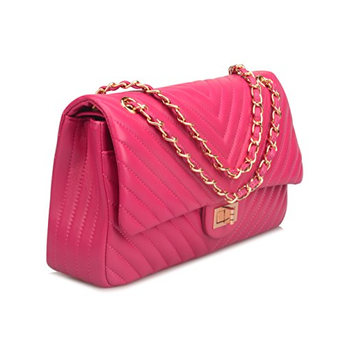Pink Leather Genuine Hot Ainifeel Hobo Women's Quilted Purse Shoulder Bag Handbags E6EFqvWng