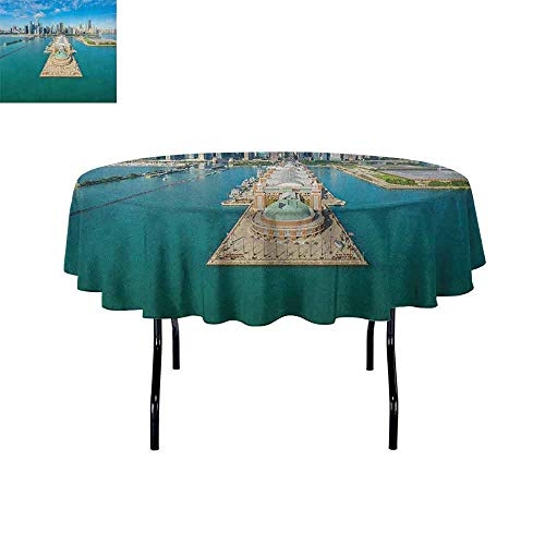 DouglasHill Chicago Skyline Waterproof Anti-Wrinkle no Pollution Aerial Panorama of Navy Pier Marine Metropolis Big City Silhouette View Table Cloth D59 Inch Multicolor