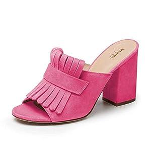 XYD Women Open Toe Mule Shoes High Chunky Heel Slip On Slide Fringed Summer Sandals