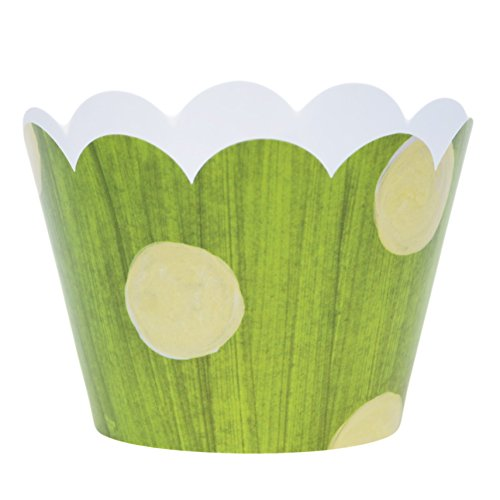 Grass Green and Light Yellow Whimsical Polka Dots, 36 Cupcake Wrappers for Birthdays and Baby Shower Decorations, Confetti Couture Party Supplies