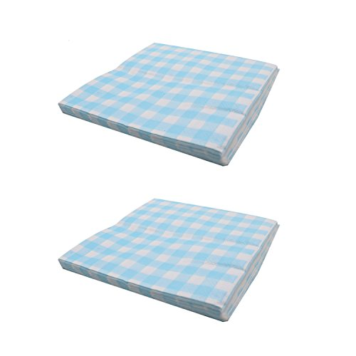 Buorsa 40 Count Blue Gingham Luncheon Napkins Decorative Disposable Paper Party Napkins