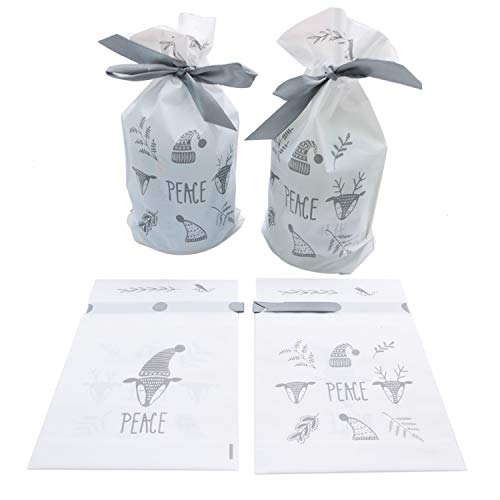 JETEHO 20Pcs Drawstring Candy Gift Treat Bag, 9'' x 6''x 2'' Plastic Party Favor Bags Pouch,Drawstring Candy Goodies Bag for Wedding Party Christmas Holiday Favor