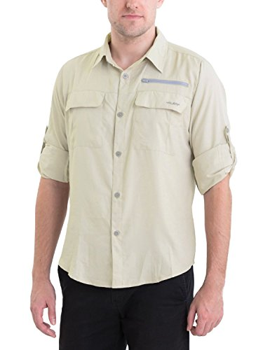 BALEAF Men's Lightweight Quick Dry UPF 50+ Long Sleeve Shirt Khaki S