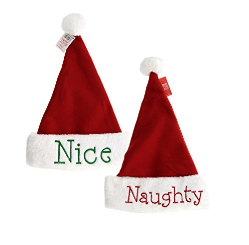Naughty or Nice Santa Hats, 2pk, Festive Holiday Christmas Hats with Hand Stitched Naughty in Red on one side and Nice in Green on the other, Reversible (2 Hats) -