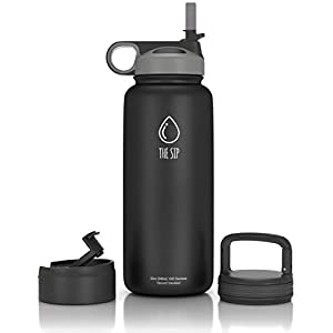 32oz Stainless Steel Water Bottle, Extra Three Lids ~ Straw, Flip and Carabiner Caps ~ Double Walled & Vacuum Insulated, BPA Free~Black