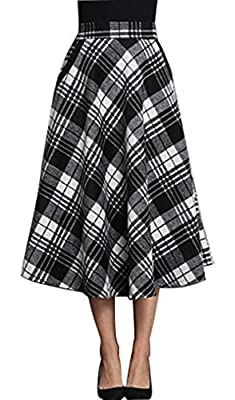 chouyatou Women's Vintage Calf Length A-Line Pleated Midi Plaid Wool Skirt
