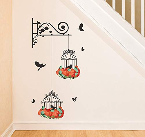 Amazon Brand - Solimo Wall Sticker for Living Room (Floral Cage, Ideal Size on Wall - 34 cm x 64 cm)