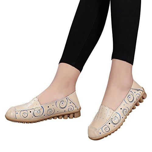 ... Kjære Tid Kvinners Kjøre Loafers Skli På Komfortabel Utskrifts Flate  Mokasiner Beige