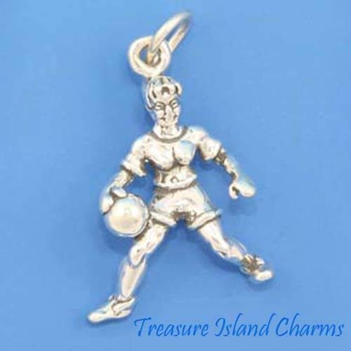 Basketball Silver Signature (Basketball Girl Player 3D 925 Solid Sterling Silver Charm Crafting Key Chain Bracelet Necklace Jewelry Accessories Pendants)