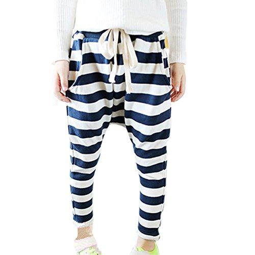 PanDaDa Striped Casual Crotch Sweatpants