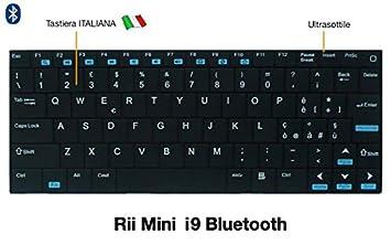 Rii - Teclado Mini i9 Bluetooth (formato italiano) - Teclado Bluetooth, ultra fino para Tablet, smartphone, ordenador portátil, PC, PlayStation negro: ...