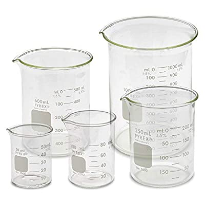 Corning PYREX #1000-Series Glass Beaker Sets, Low Form Griffin, Double Scale (Variations Available)