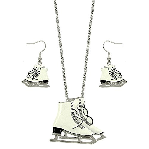 Lola Bella Gifts Crystal Ice Skates Pendant Necklace and Earring Set]()