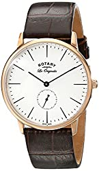 Rotary Men's gs90053/02 Rose Gold-Tone Watch with Brown Leather Band