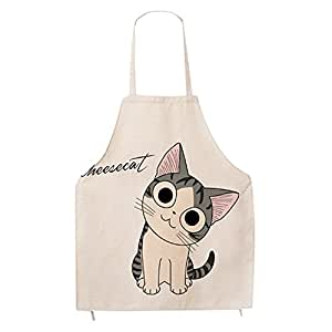 Super Cute Cartoon Cat Print Pattern Apron Burlap Cotton Unisex Bib Apron Chef Kitchen Cooking Baking Aprons for Men or Women (Adults)