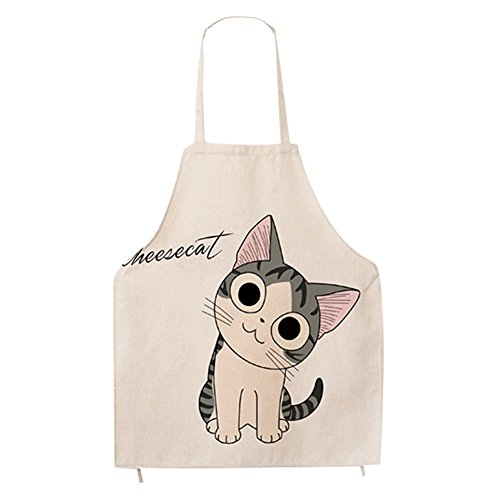 Super Cute Cartoon Cat Print Pattern Apron Burlap Cotton Unisex Bib Apron Chef Kitchen Cooking Baking Aprons for Men or Women (Cat Apron)