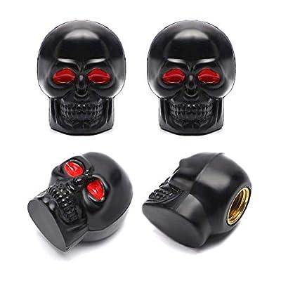 ACCRETION Black Skull Style Anti-Rust Copper Core Motorcycle Bike Car Tires Valve Stem Caps, 4 Piece Pack: Automotive