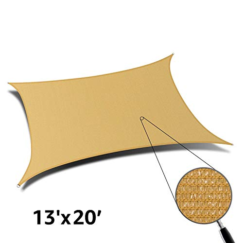 DOEWORKS 2018 Style 10 X 13 Sun Shade Sail Canopy Rectangle Sand Sand, 13 x 20